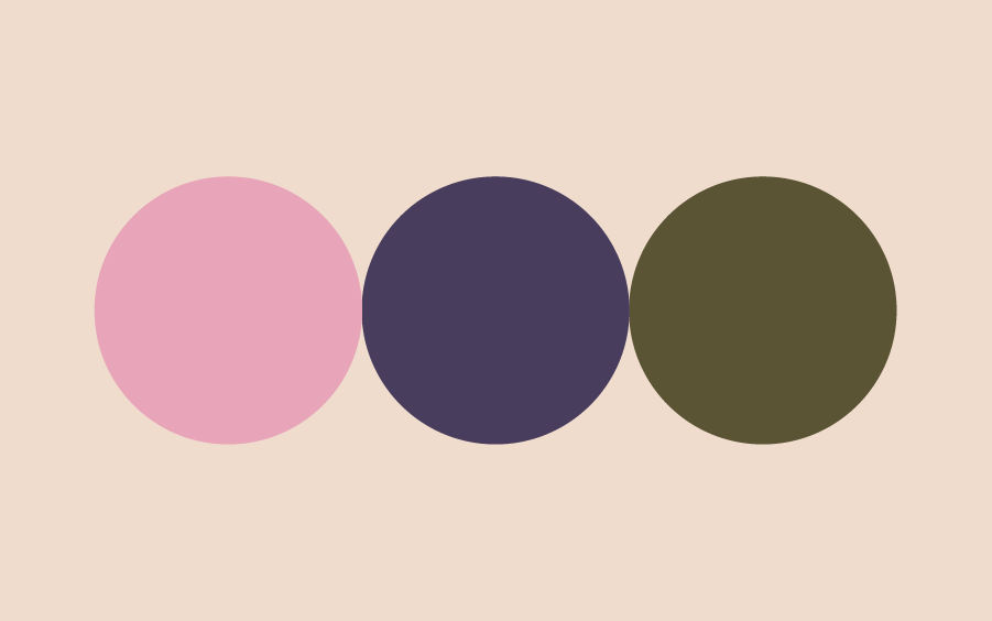 Color swatches of pink purple and olive for a health and wellness brand