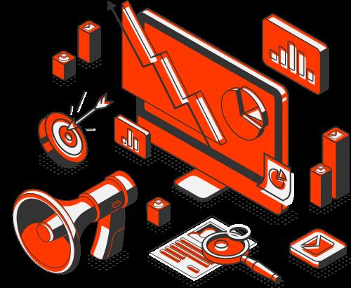 Digital marketing and web design services illustration