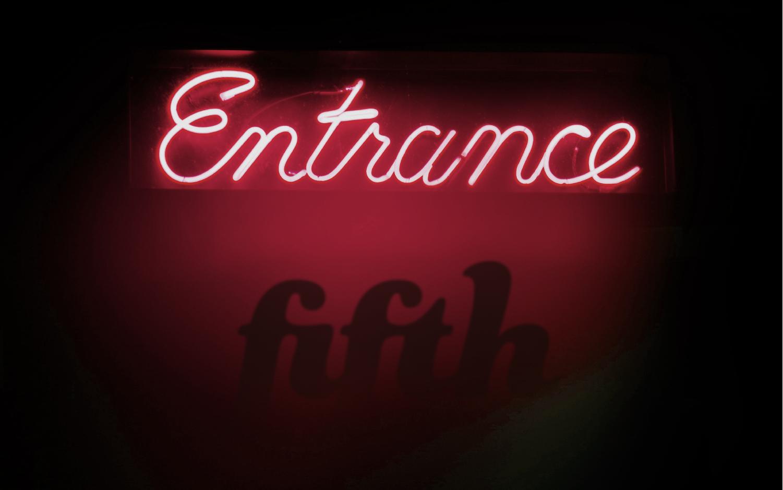 Jazz bar entrance wall sign