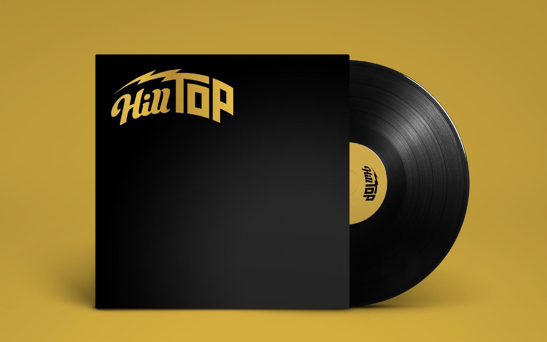 HillTop branding logo design on vinyl record