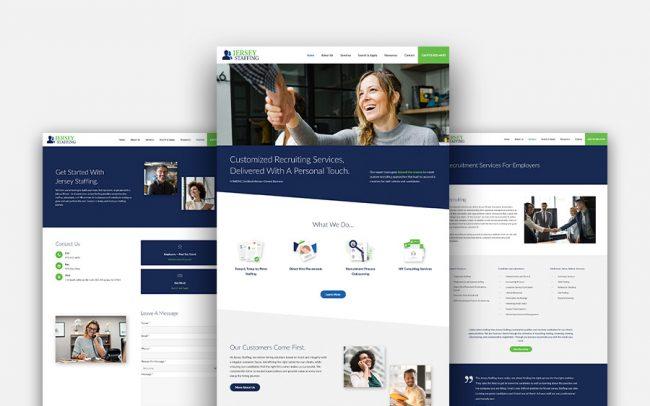 Jersey Staffing Website Design Screen Mockup