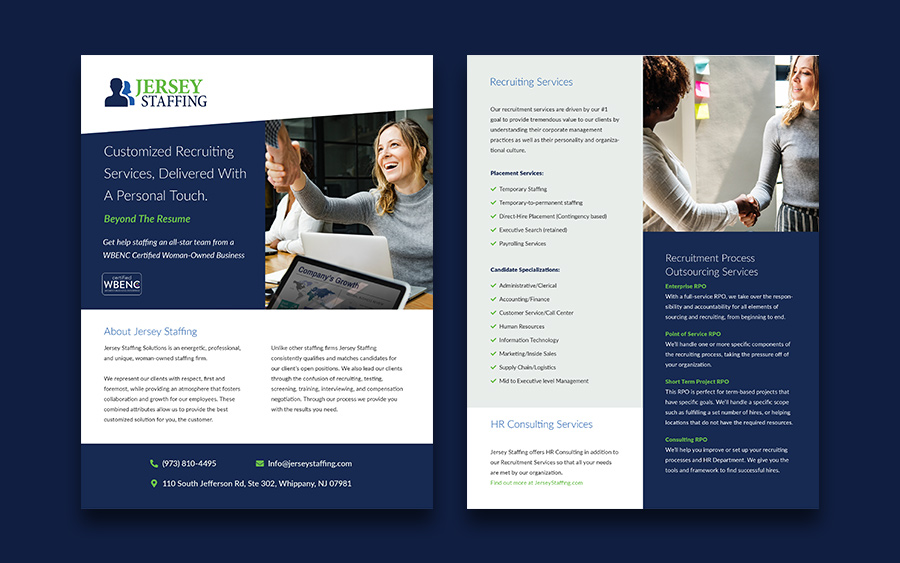 Front and back of lyer design for staffing firm