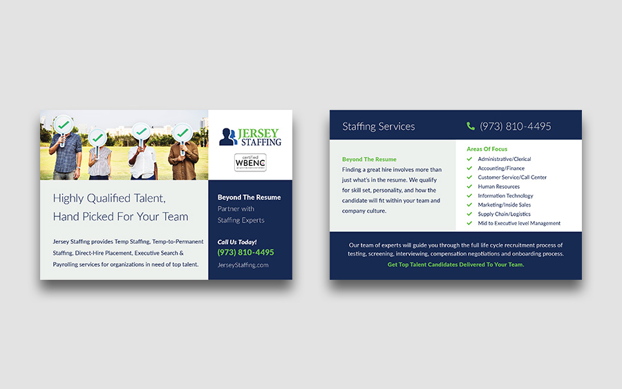 Postcard leave behind marketing material design