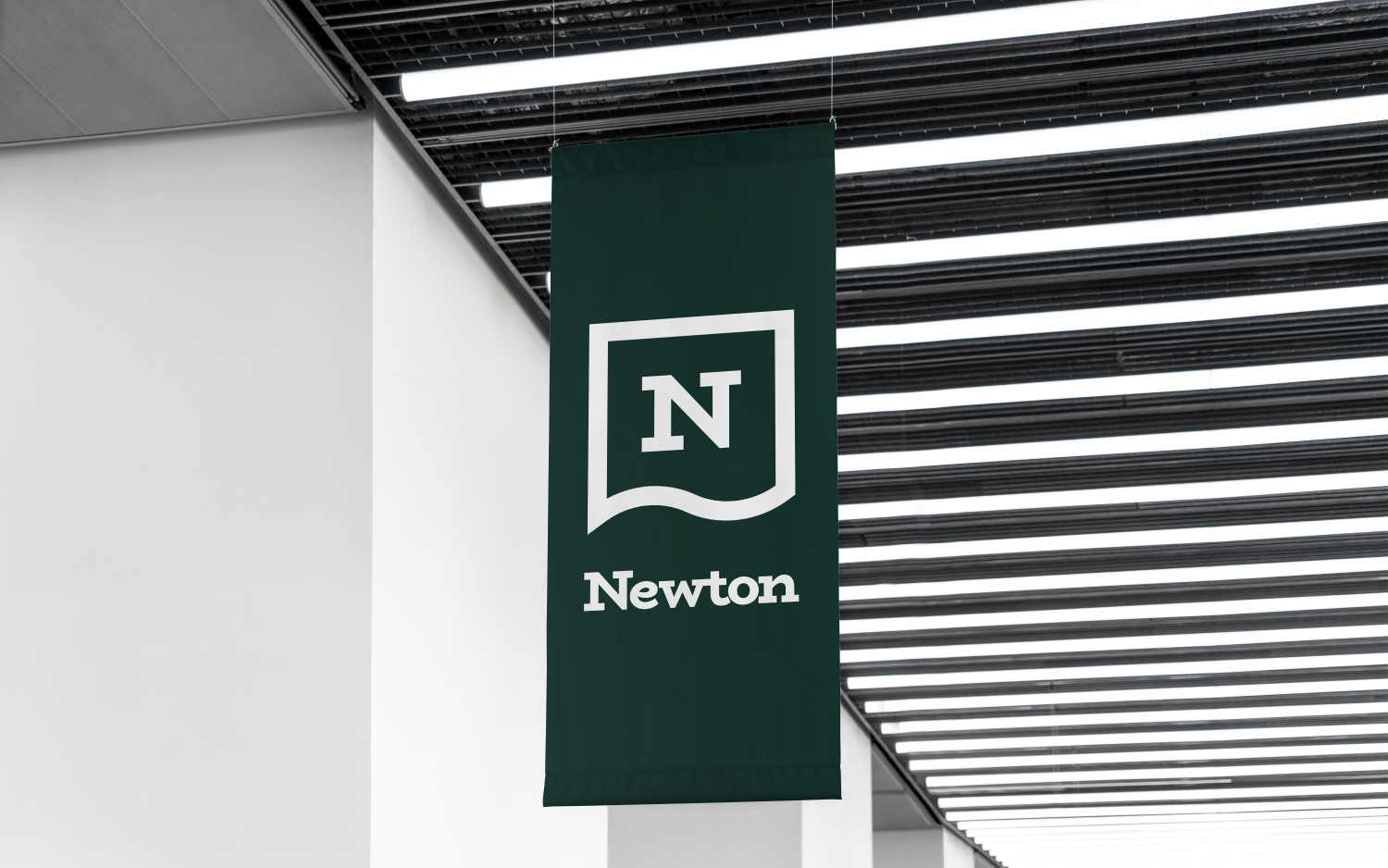 Newton branding logo design on a banner