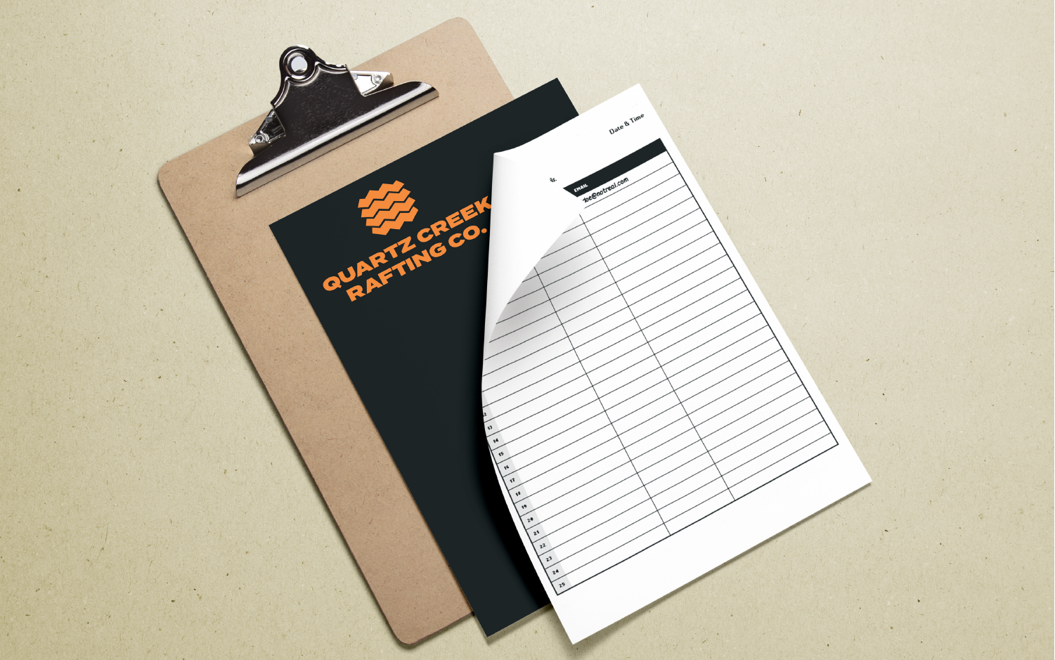 Clipboard mockup design for rafting tour company
