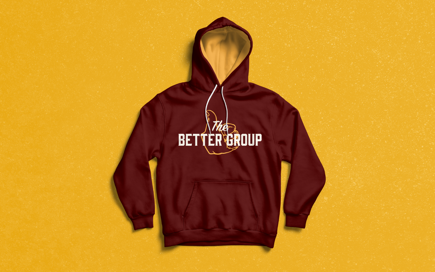 The Better Group, non-profit logo and branded hoodie