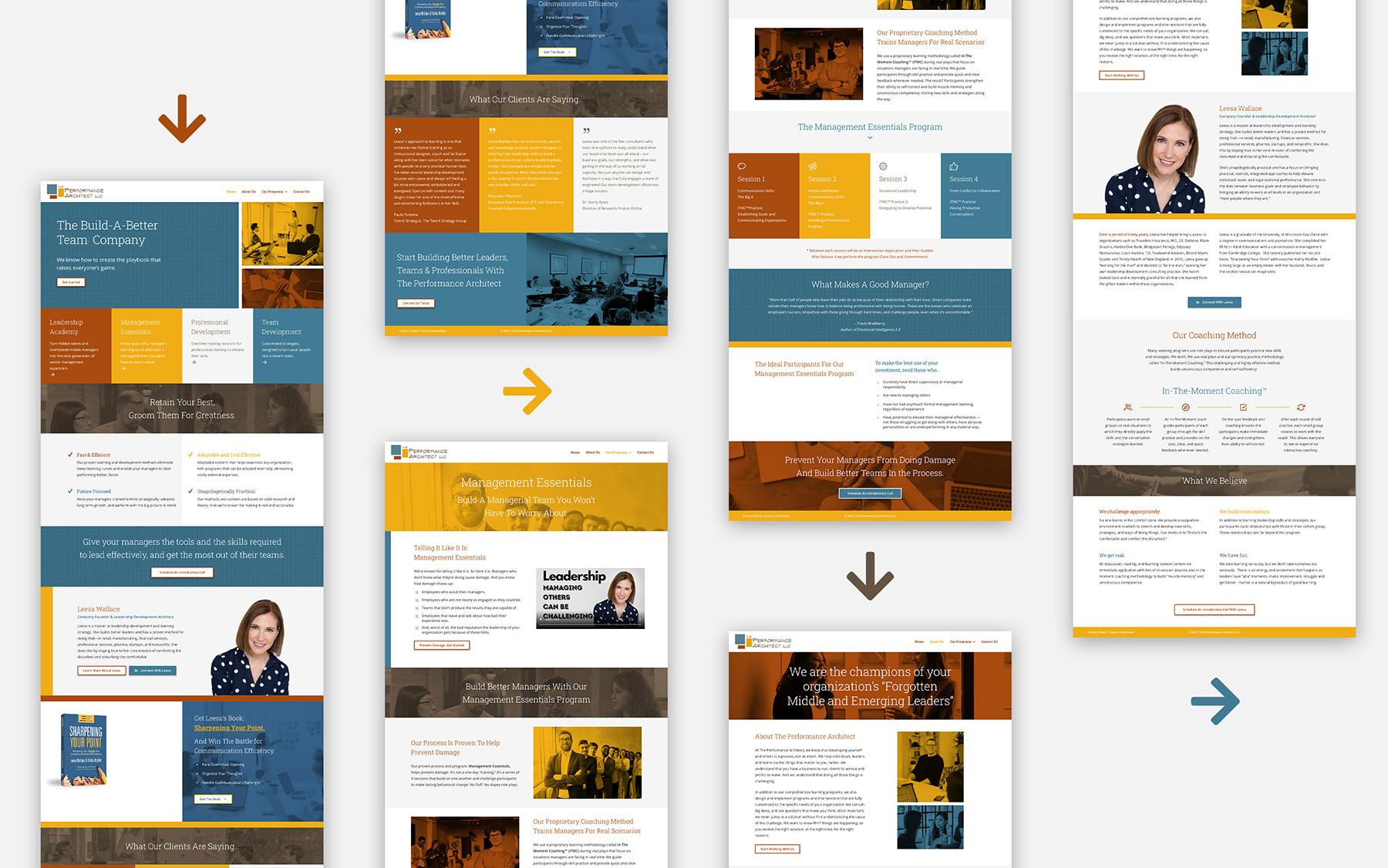 web design mokcup screens for a leadership training program