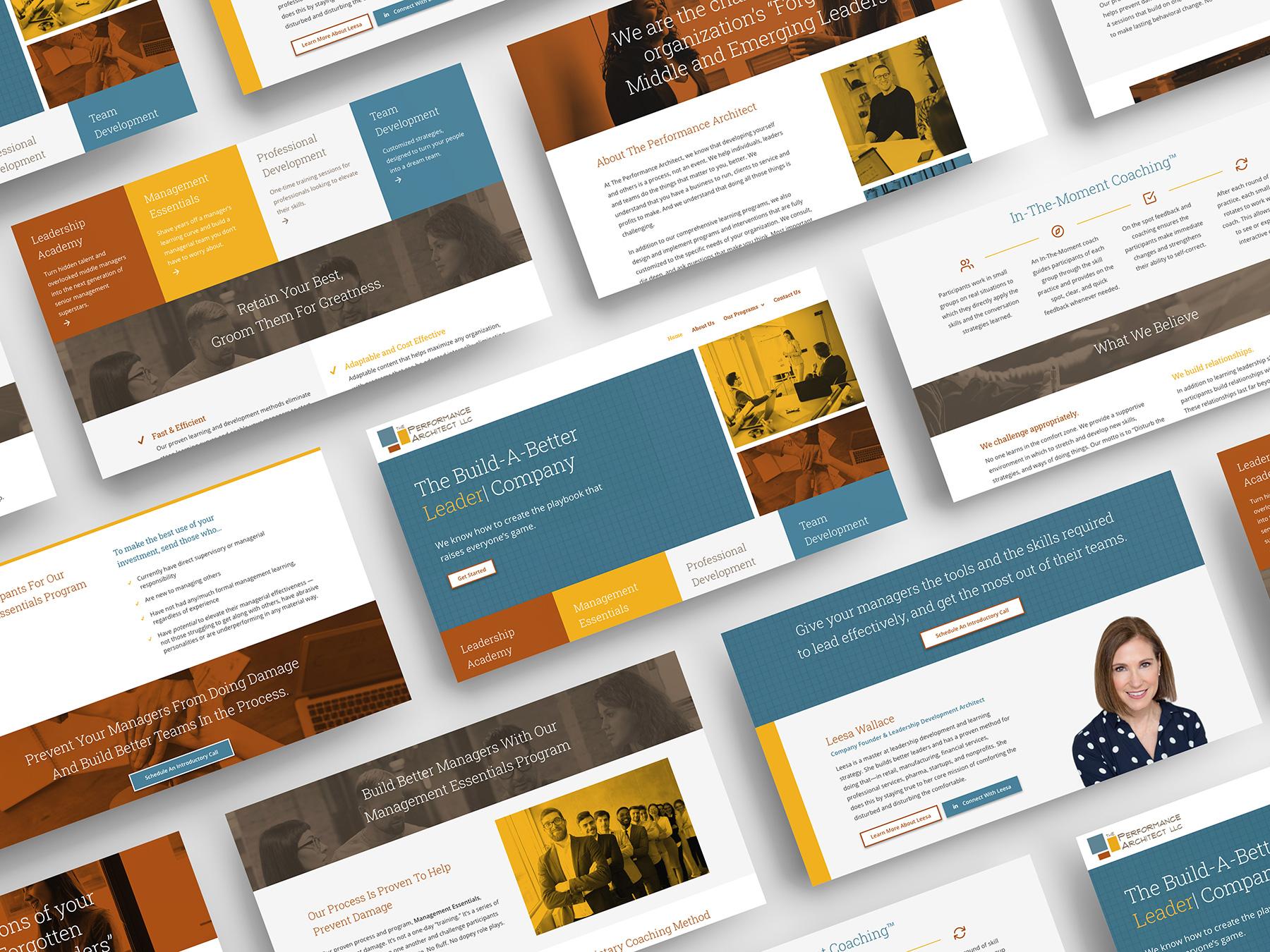 Website screens of a design for a leadership program
