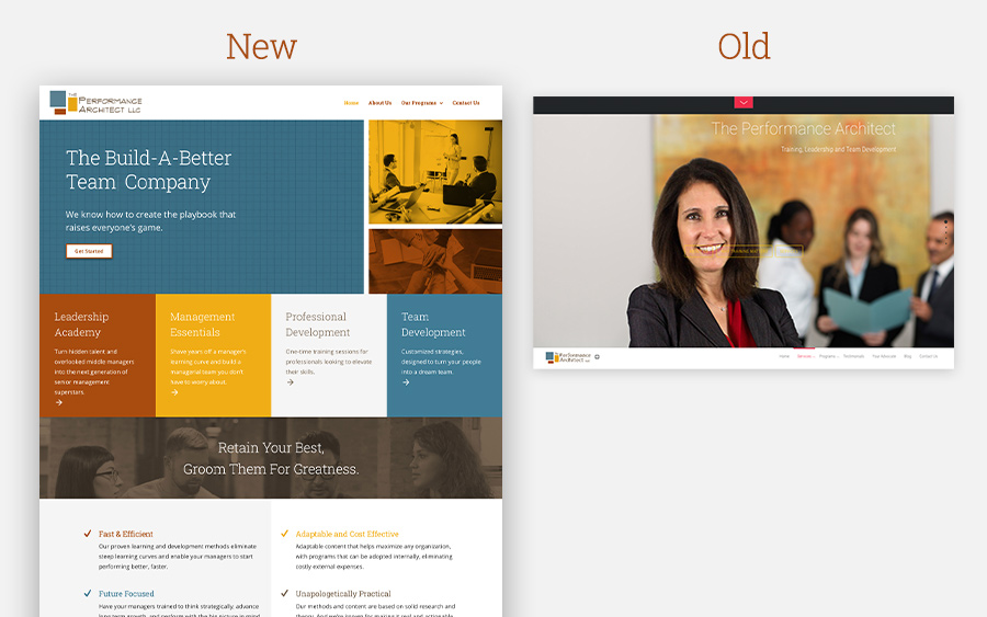 Old and new website redesign comparison